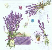 Lavender Bouquets and Butterflies | Lavender Napkins | Paper Napkins for Decoupage
