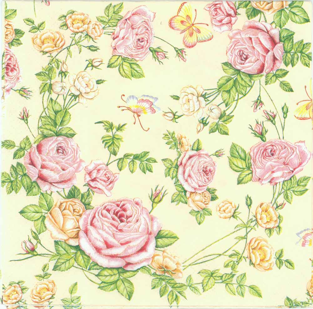 Decoupage Paper Napkins of Exquisite Pink Roses and a Butterfly
