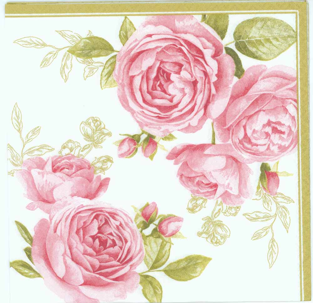 Decoupage Paper Napkins of Pink Pastel Roses