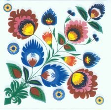 Polish Folk Pattern Flowers | Floral Napkins | Paper Napkins for Decoupage
