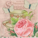Rose Napkins | Pink Roses Tea and Butterflies | Paper Napkins for Decoupage