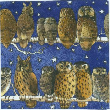 Winter Owls on a Starry Night | Bird Napkins | Owl Napkins | Paper Napkins for Decoupage