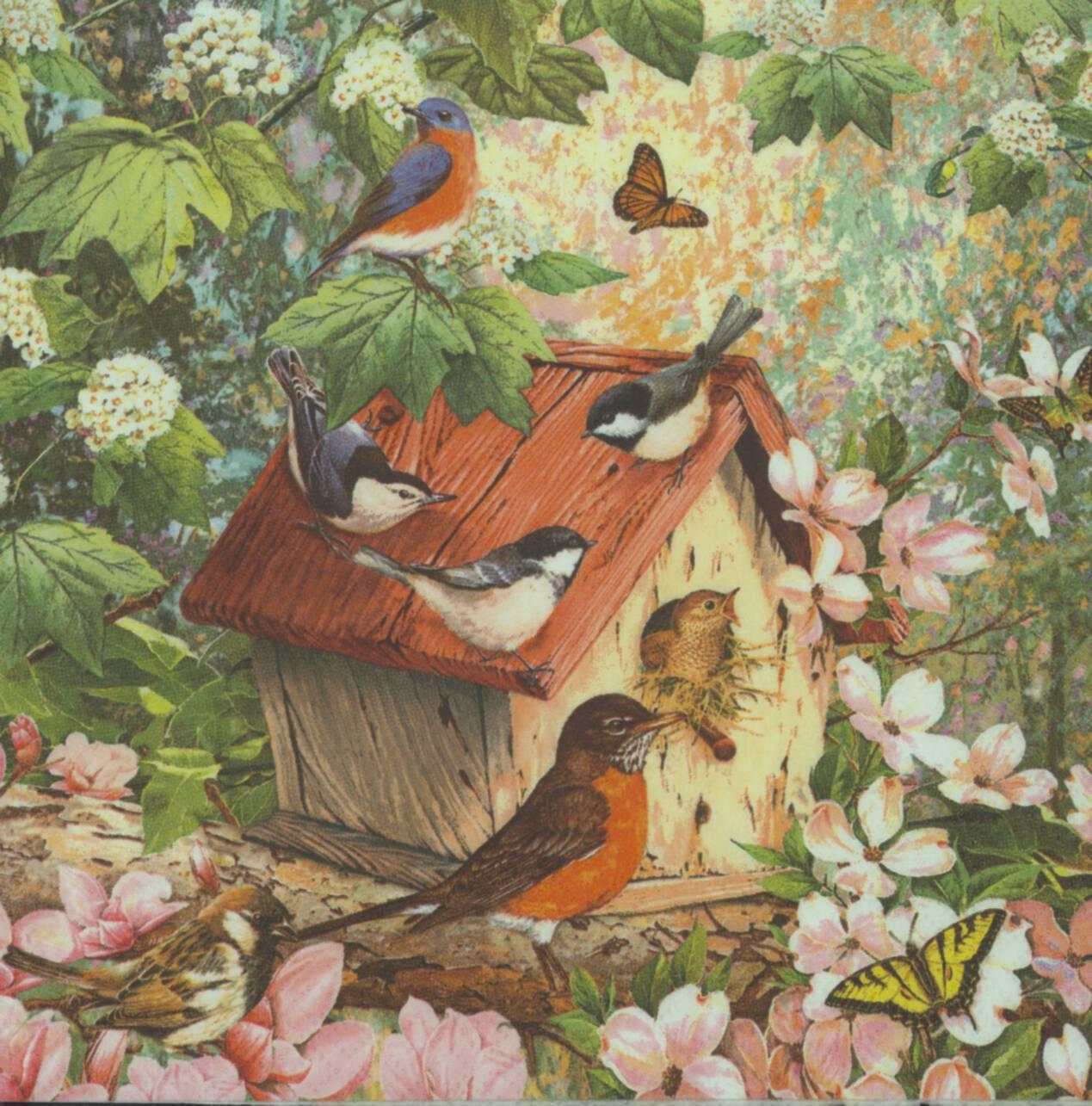 Birdhouse Garden: Decoupage Paper Napkins Of Birdhouse In The Garden