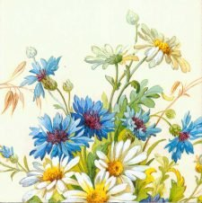 Wedding Paper Napkins Decoupage Daisies Cornflowers