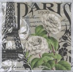 Wedding Paper Napkins Paris France Eiffel Tower White Roses Floral Paper Napkins