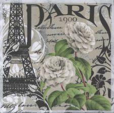 Wedding Paper Napkins Paris France Eiffel Tower White Roses Floral Paper Napkins
