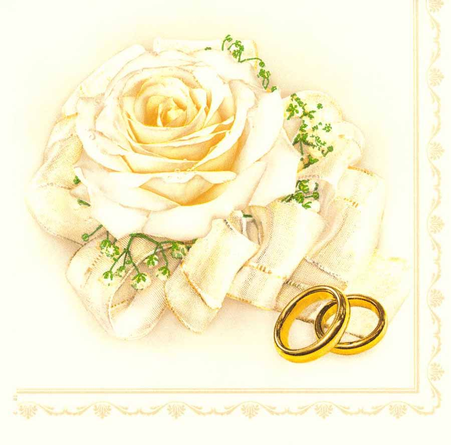 Decoupage Paper Napkins Of Wedding Rings And Roses